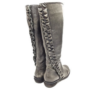 Miss Albright Gunmetal Leather Ruffle Knee Boots